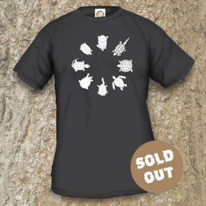 Turtles Model 2C Circle 1, Sold Out, Black coloured T-shirt.